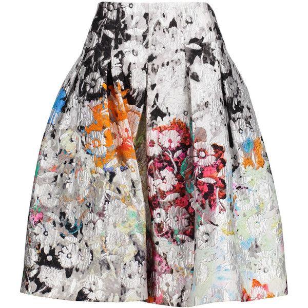 Oscar de la Renta Pleated metallic cotton-blend brocade skirt ($765) ❤ liked on Polyvore featuring skirts, multi, oscar de la renta, brocade skirt, metallic pleated skirt, knee high skirts and metallic skirts