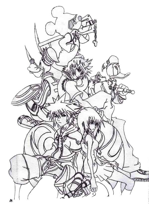 Sora And Friends At Kingdom Hearts 2 Coloring Page Netart Kingdom Hearts Art Coloring Pages Heart Coloring Pages