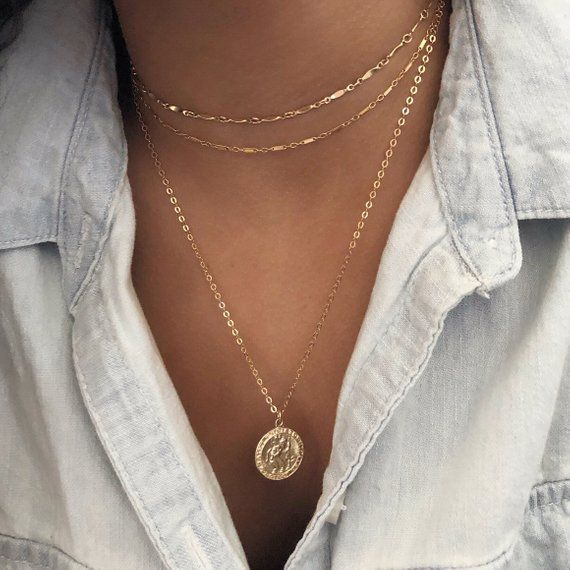 Gold Coin necklace – Gold Medallion Necklace – Miraculous gold necklace- St Christopher – Gift for her