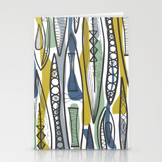mid century shapes | Mid-Century Shapes Stationery Cards by Patternjots | Society6