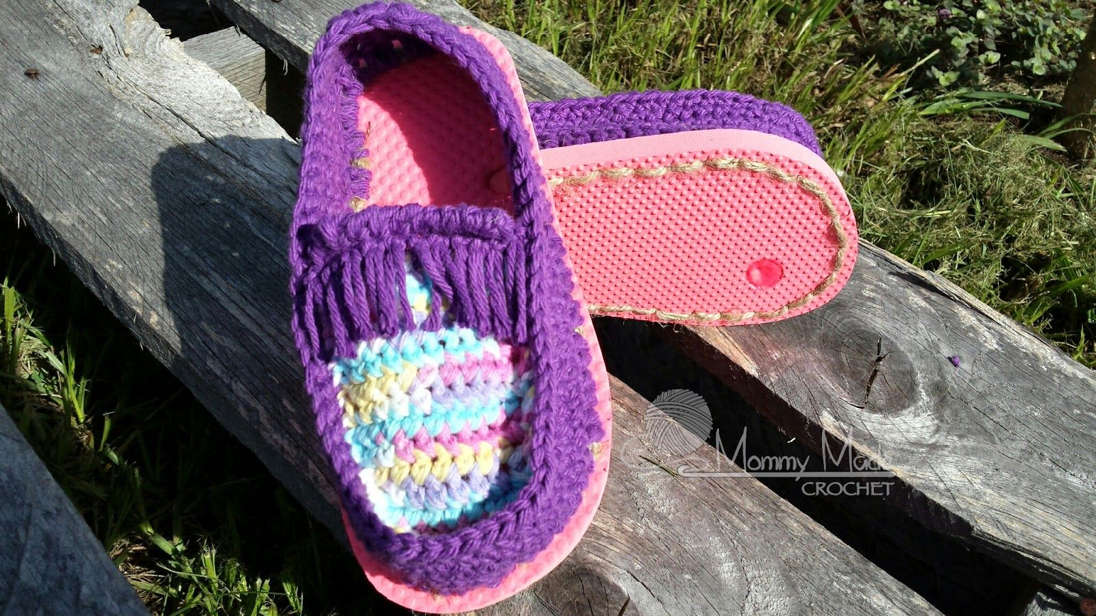 Mommy Made Crochet Cotton Moccasin Shoes With Flip Flop
