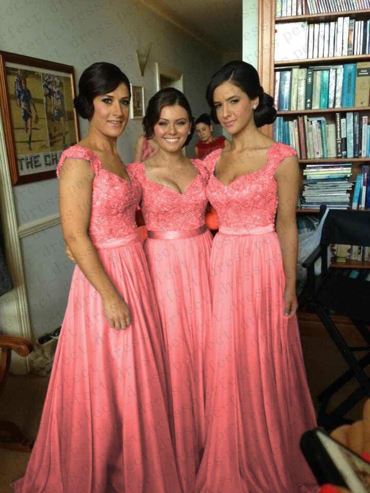 Coral Chiffon Corset Long Bridesmaids Dress, Formal Prom Dress ...