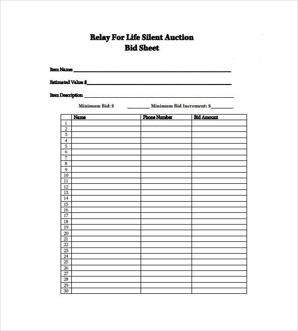 Silent Auction Bidding Sheet, 2 Part (100\/Pack) Light Weight - bid templates