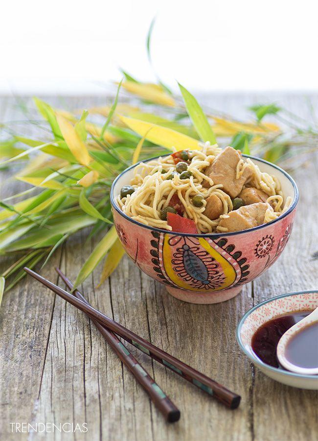 Noodles salteados al estilo asiático. Receta con fotografías del paso a paso y sugerencias de presentación. Trucos y consejos de elaboración. Recetas fáciles