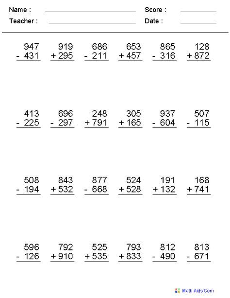 2 3 Or 4 Digits Mixed Operator Worksheets Subtraction Worksheets Addition And Subtraction Worksheets Math Subtraction Subtraction across zeros worksheet