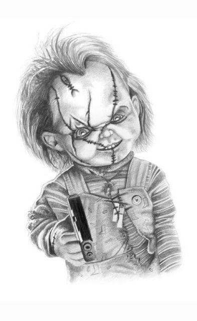 Chucky Tattoo Drawing : chucky, tattoo, drawing, Claude, Schaffter, Ideas, Scary, Drawings,, Badass, Horror, Movie, Tattoos