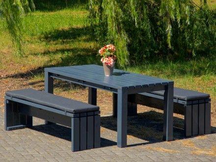 Gartenmöbel Holz Set 3, Oberfläche: Anthrazit Grau | Gartenmöbel ...