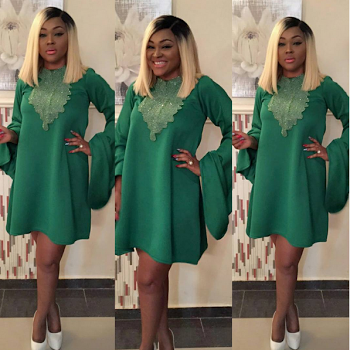 Mercy Aigbe Looks Fabulous In A Freely Skin Short Gown Blonde Hair