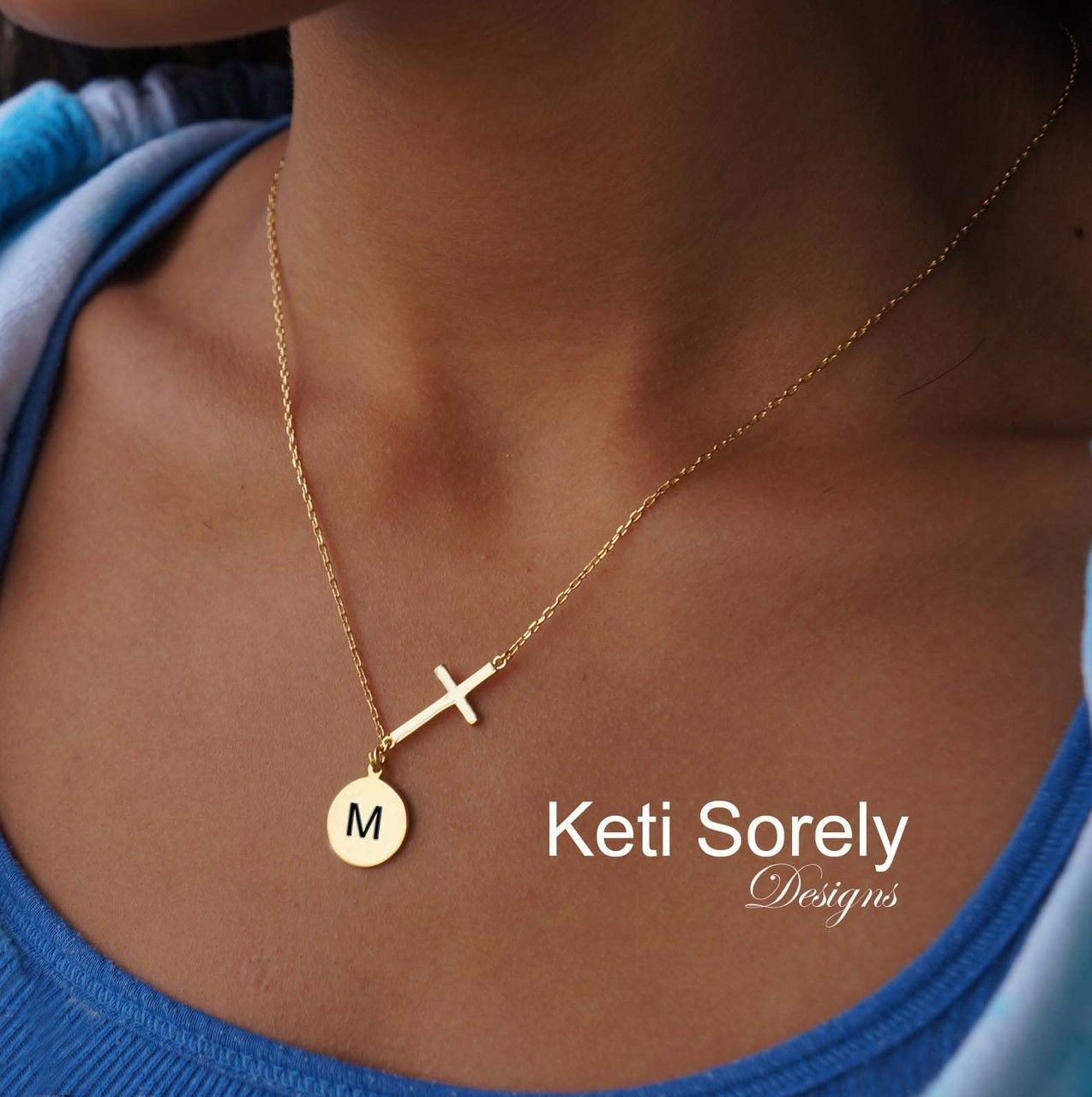 Celebrity Style Sideways Cross Necklace With Initials Disk Yellow White Or Rose Gold Cross Necklace Sideways Initial Necklace Necklace