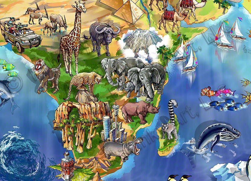 World map illustration detail africa maria rabinky art world map illustration detail africa gumiabroncs Choice Image