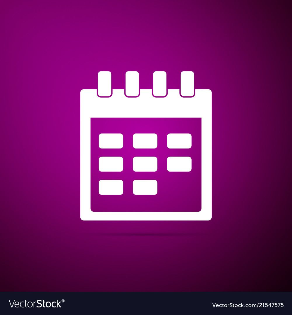 Calendar Icon Isolated On Purple Background Vector Image On Vectorstock Calendar Icon Neon Art Print Calender App