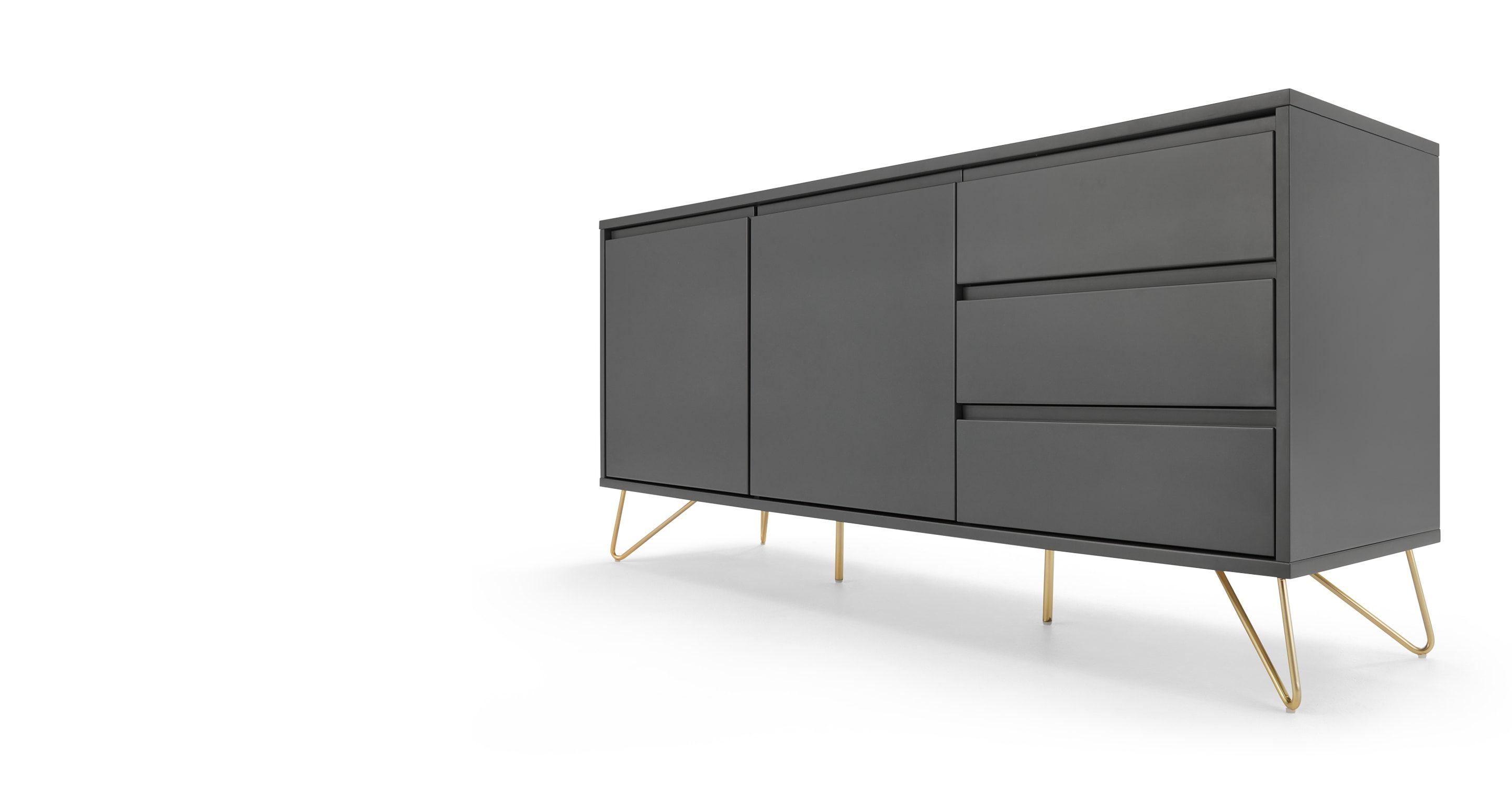 Highboard wohnzimmer ~ Elona sideboard anthrazit und messing made.com jetzt bestellen