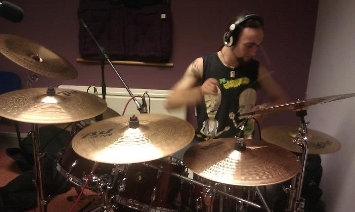 Jake (drummer) recording their EP