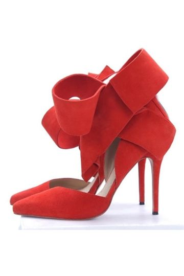b71cbc6dac39 shoespie.com Offers High Quality Glaring Red Suede Pointed Toe High Heel  Sandals with Amazing Bowtie