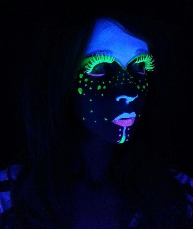 Just Get Creative Until You Like The Designs Black Light Makeup Light Makeup Halloween Makeup