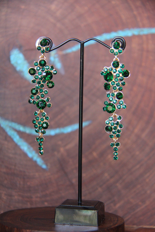 e839e01ab emerald green dangle earrings, rhinestone pageant earrings, red rhinestone  earrings, blue prom earrings