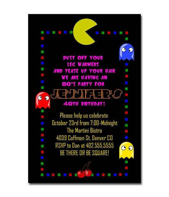 retro 80 s themed pac man thank you note or birthday party