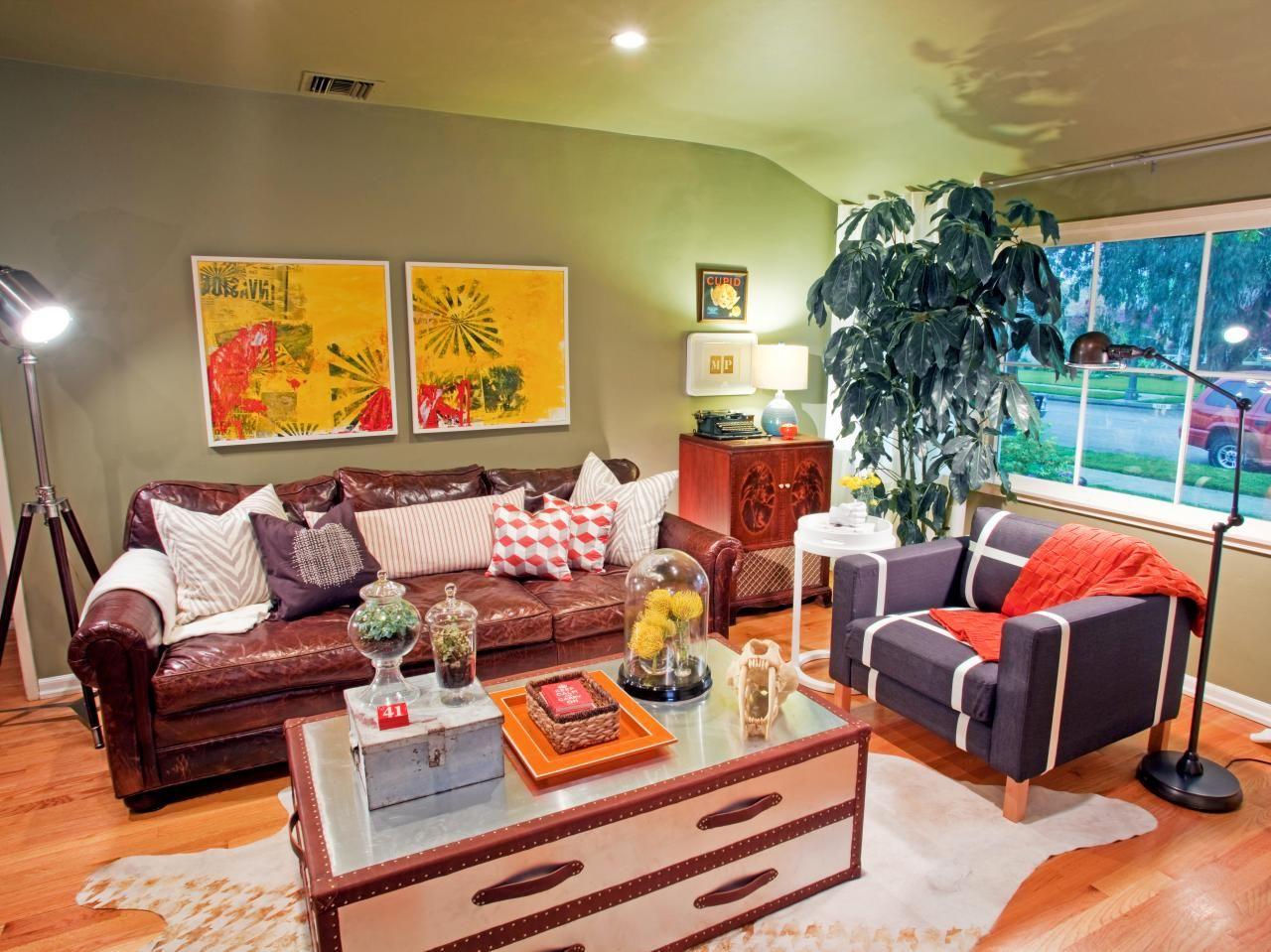 Living Room Shelves, Living Room Layouts, Old Trunks, Vintage Trunks, Green Living  Rooms, Eclectic Living Room, Living Room Contemporary, ...