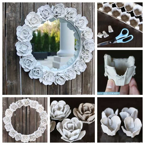 Wonderful diy egg carton rose mirror decoration flower for Egg carton room