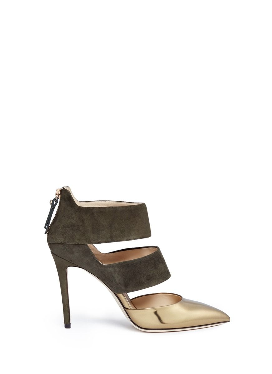 JIMMY CHOO 'Dame 100' Suede And Mirror Leather Pumps. #jimmychoo #shoes #pumps