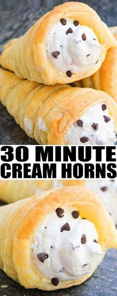Learn how to to make easy CREAM HORNS recipe with puff pastry and chocolate chip cream cheese filling. Ready in 30 minutes! cream horns homemade | cream horns filling | cream horns recipe puff pastries| From cakewhiz.com #dessert #recipes #easyrecipe #dessertrecipes #italianfood #creamhorns