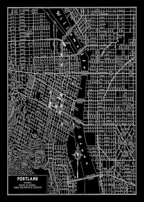 portland oregon street map Portland Oregon Street Map Vintage Black Print Poster Portland portland oregon street map