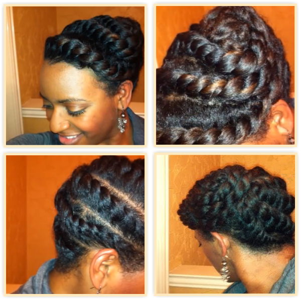 A 15 Minute Flat Twists Updo For Textured Hair http://www.blackhairinformation.com/general-articles/hairstyles-general-articles/15-minute-flat-twists-updo-textured-hair/