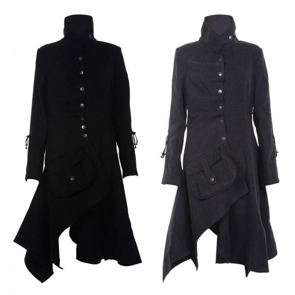 Details about WOMENS LADIES MILITARY STYLE LONG DRAPE COAT JACKET ...