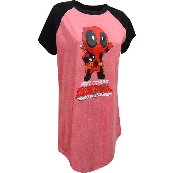 Marvel Comics Here Comes Deadpool Plus Size Night Shirt ( 25) ❤ liked on  Polyvore featuring intimates bee81ec98