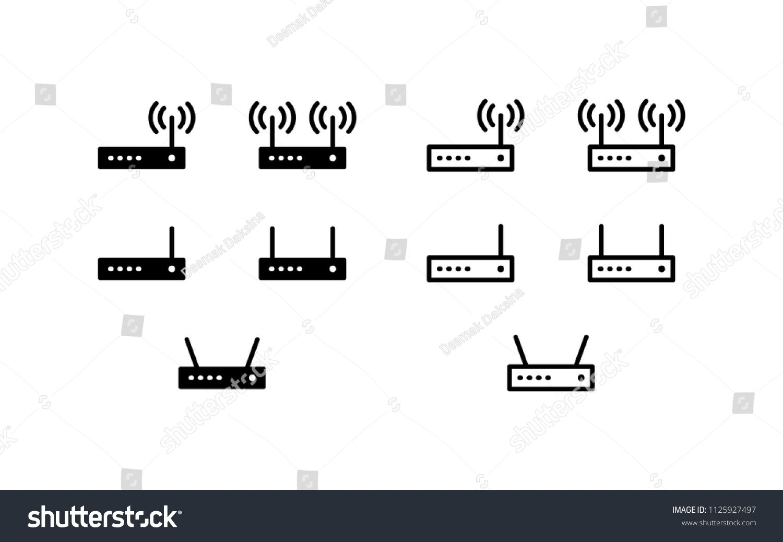 router icon set wireless router internet connection wifi antenna lan broadband ethernet hub wlan icon logo vector symbol set sign design  [ 1500 x 1038 Pixel ]