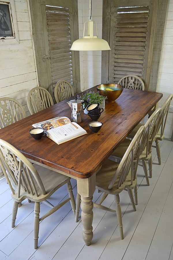 Rustic Shabby Chic Dining Table with 8 Wheelback Chairs ...