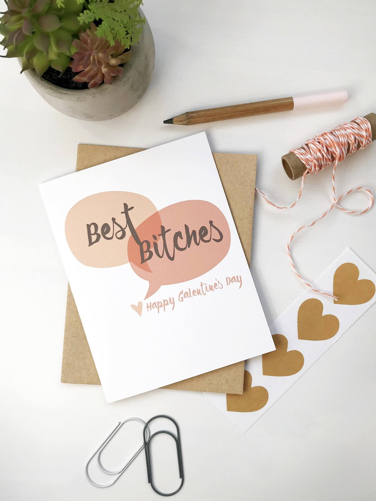 Funny galentines day card valentine for friend for her