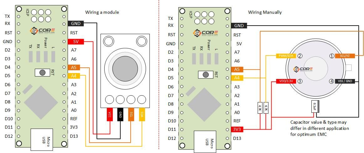 Wiring The Mlx90614 Infrared Contactless Temperature Measurement Sensor On Microcontroller 14core Com Temperature Measurement Microcontrollers Infrared