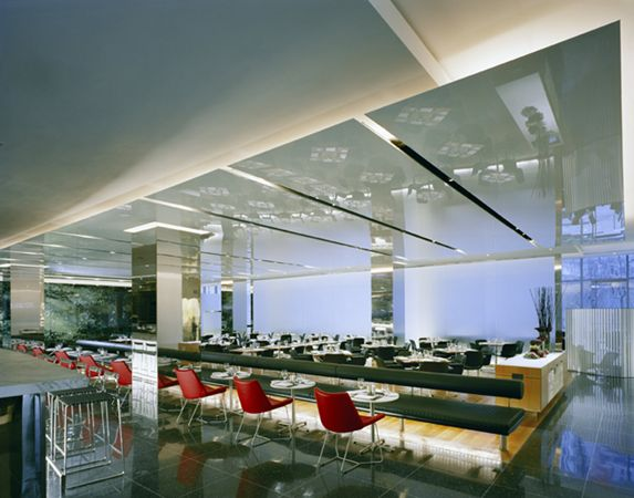 Suspended dropped ceiling cloud white mirror finish