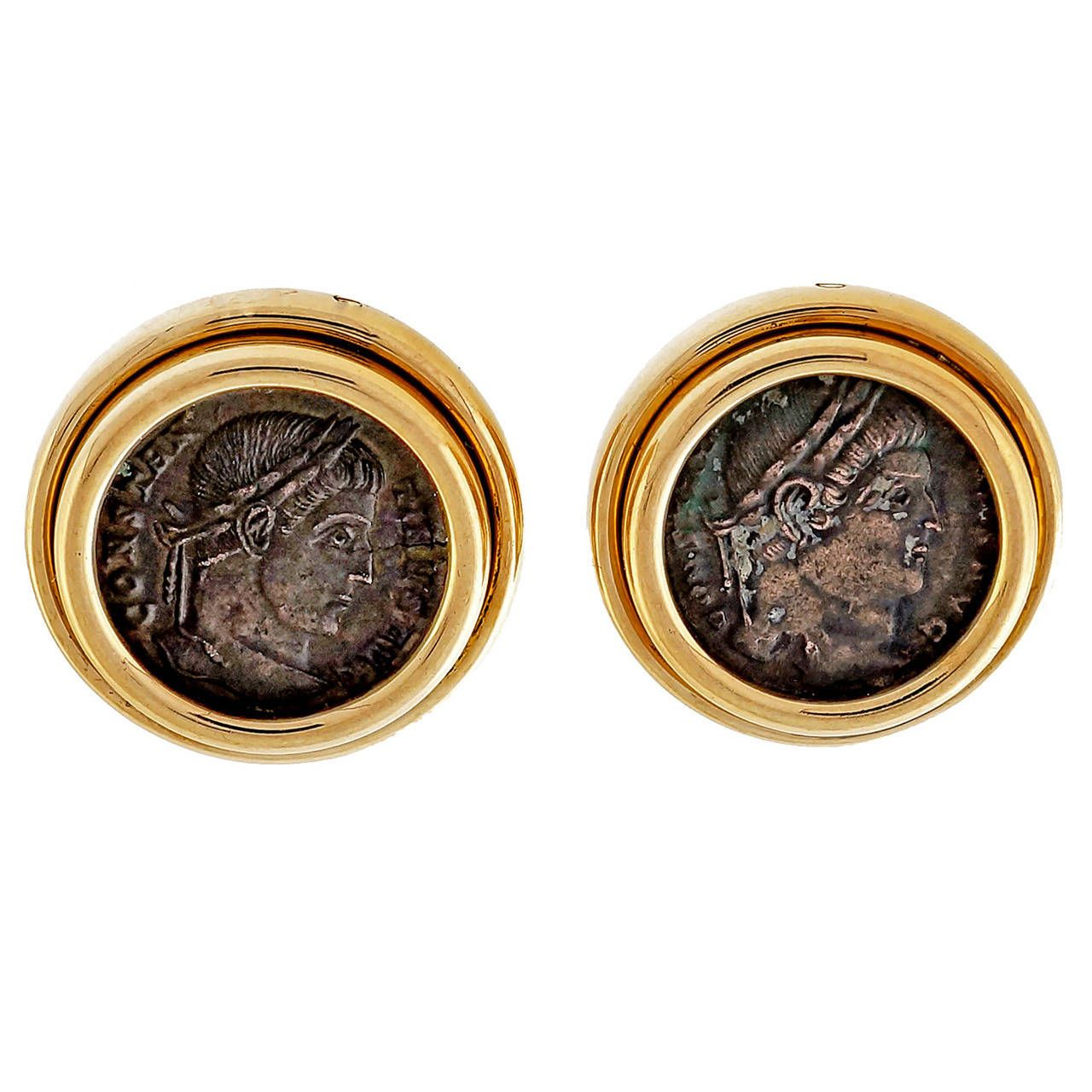 Bulgari Ancient Roman Coin Gold Earrings | From a unique collection of vintage more earrings at https://www.1stdibs.com/jewelry/earrings/more-earrings/
