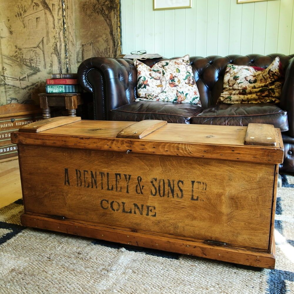 Vintage tool chest storage trunk coffee table rustic industrial engineers chest trunk coffee Old trunks as coffee tables