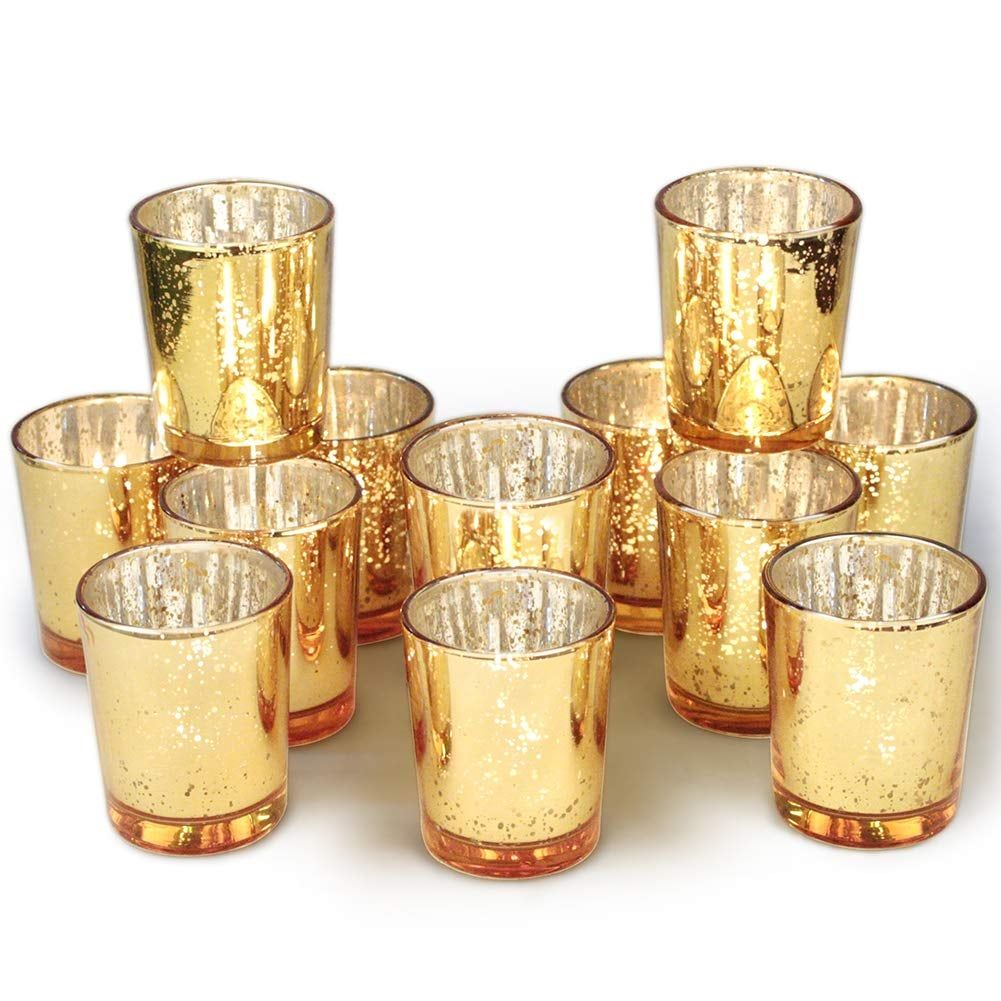 Volens Mercury Glass Tealights Gold Votive Candles