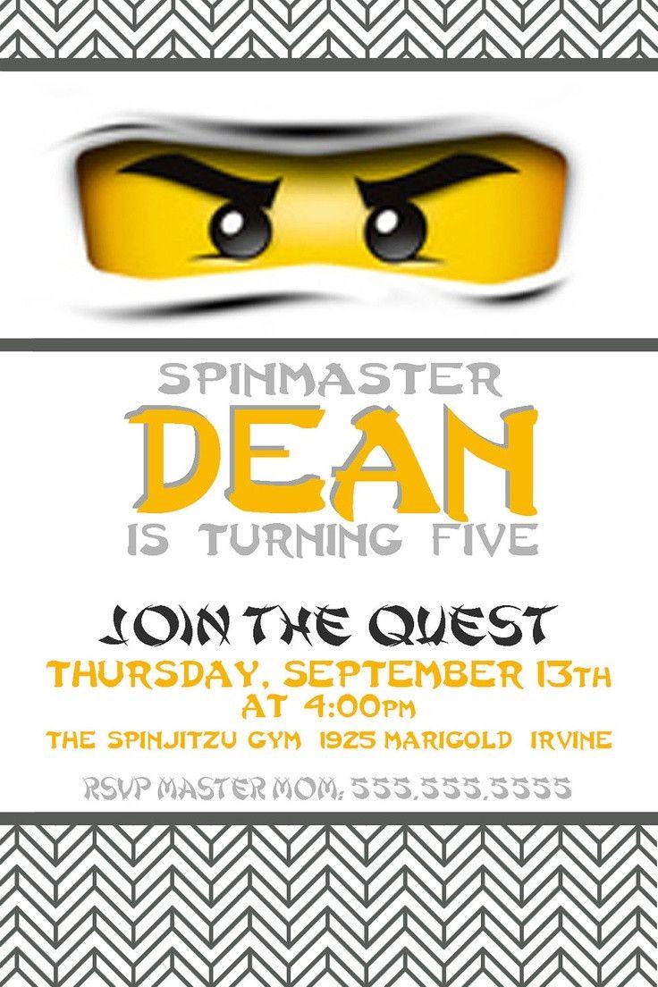 Custom Birthday Party Invite - Ninjago Invitation - Lego - Ninja ...