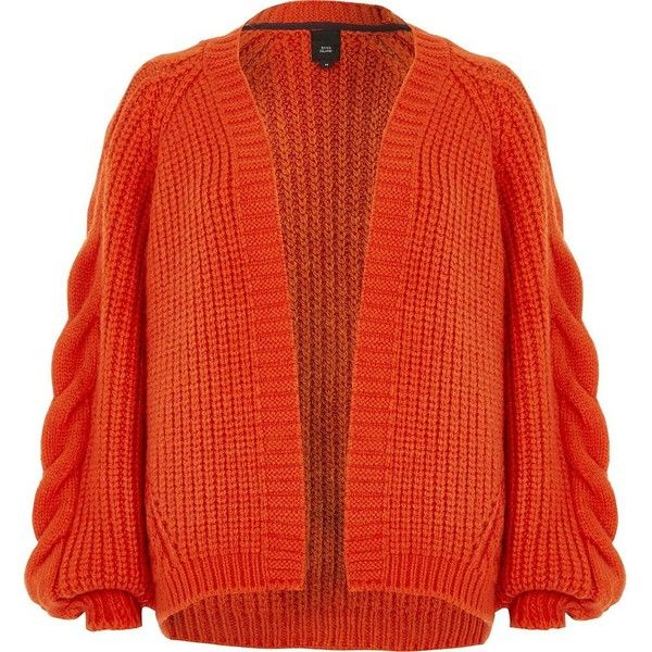 River Island Red chunky cable knit cardigan ($80) ❤ liked on ...