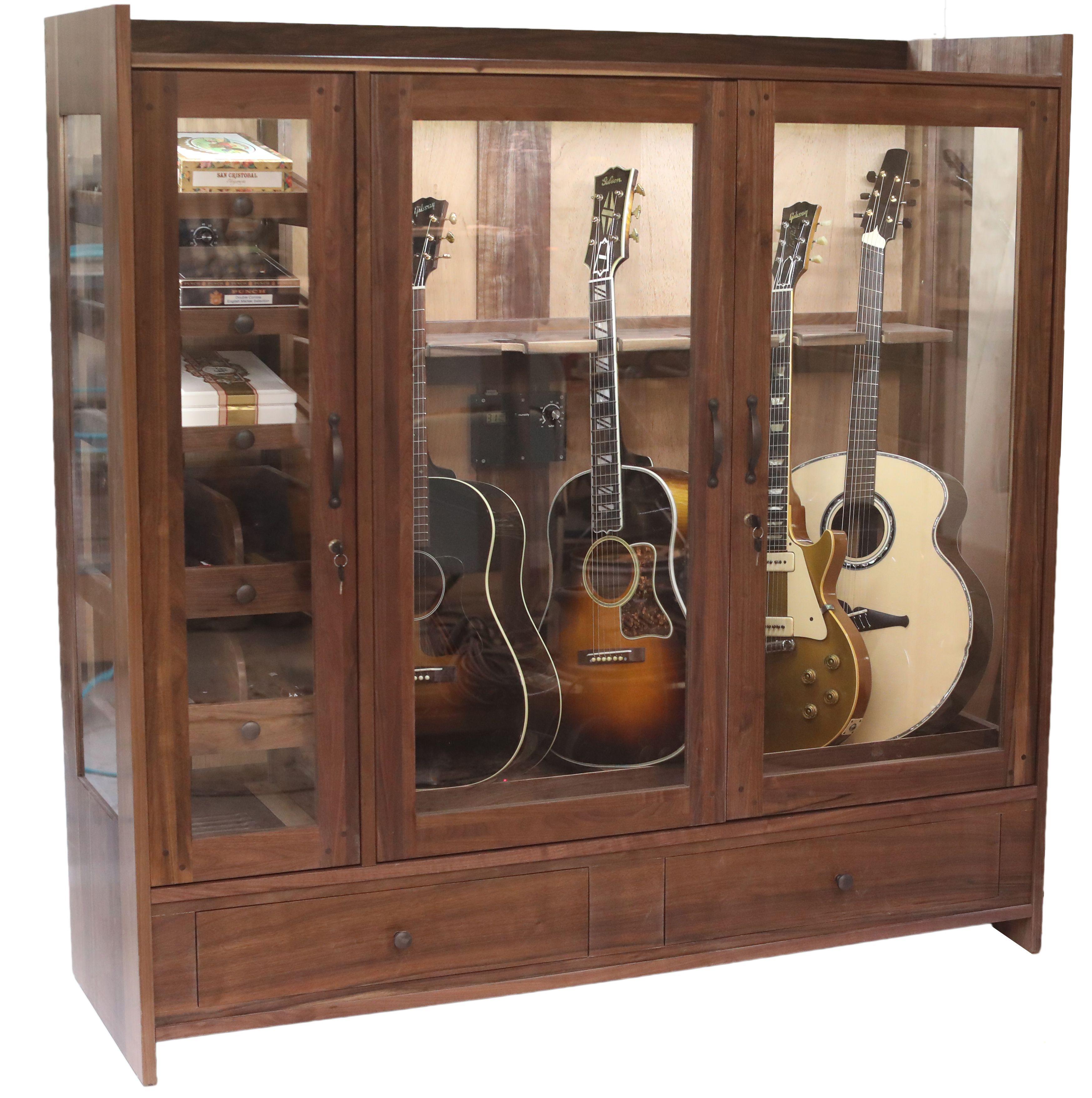 Cigar Guitar Cabinet American Music Furniture In 2020 Guitar Cabinet Guitar Display Case Guitar Display