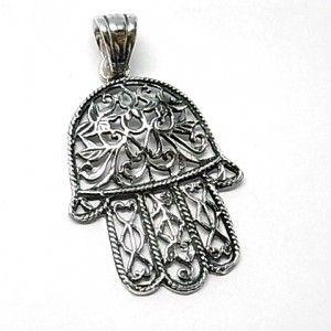 Colgante de plata lisa con motivo de mano de Fatima de 3,5 cm de largo