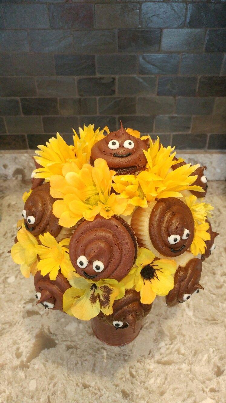 Poo Emoji Cupcake Bouquet Blossmmms Specailty Cupcake Bouquets