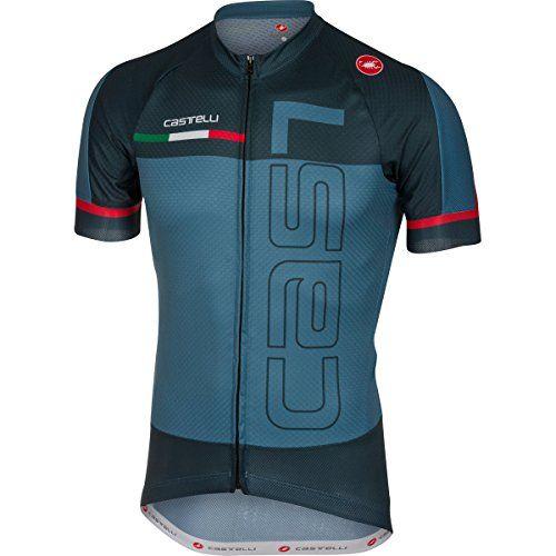 Castelli 2017 Men's Spunto Full Zip Short Sleeve Cycling Jersey - (saturn  blue/midnight navy - M), Size: Medium, Black