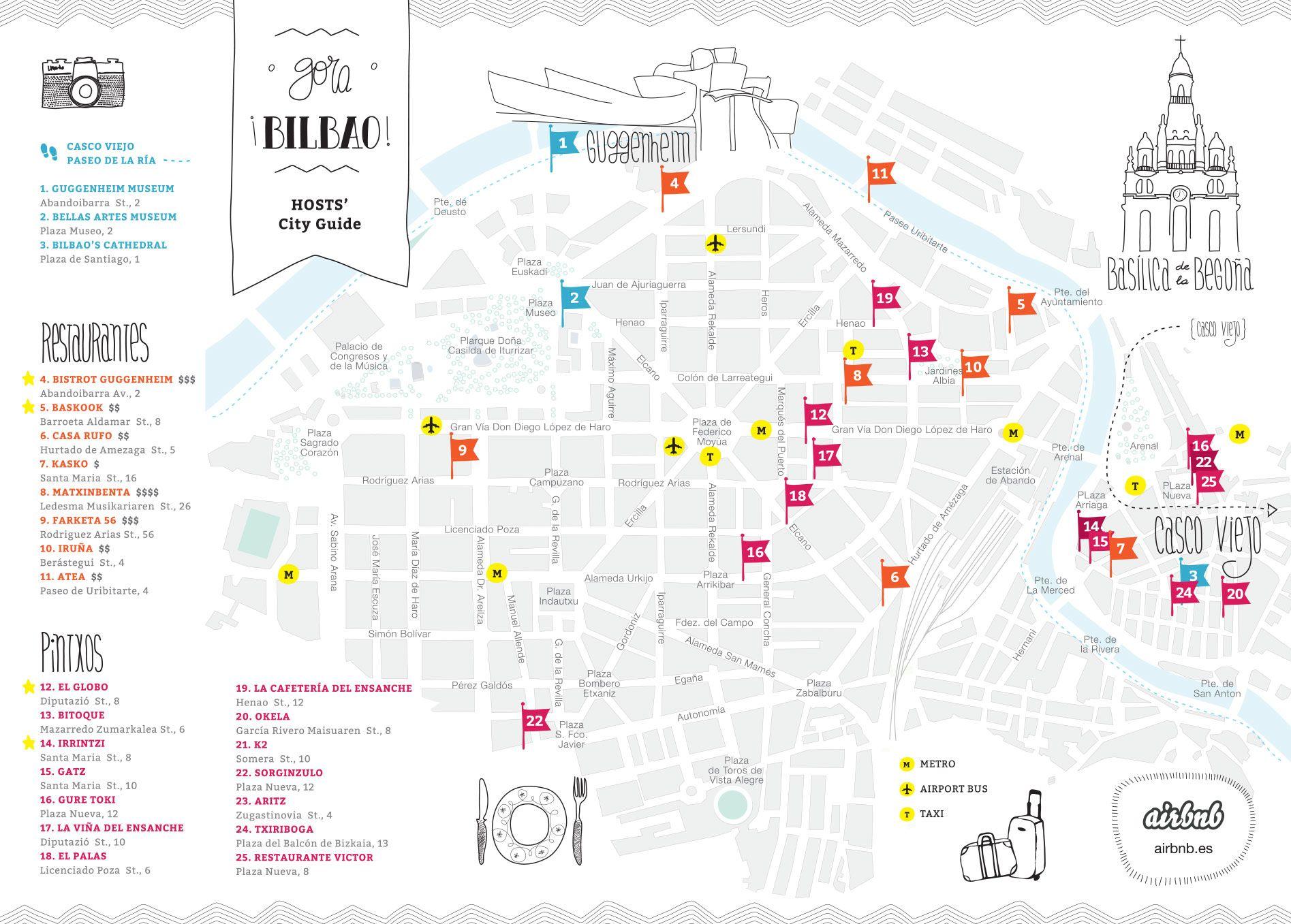 Airbnb mapa Bilbao Places SPAIN euskadi Pinterest Bilbao