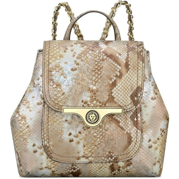 Anne Klein Lady Lock Small Backpack featuring polyvore, fashion, bags, backpacks, natural multi, vegan bags, brown faux leather bag, locking bag, vegan backpack and rucksack bag