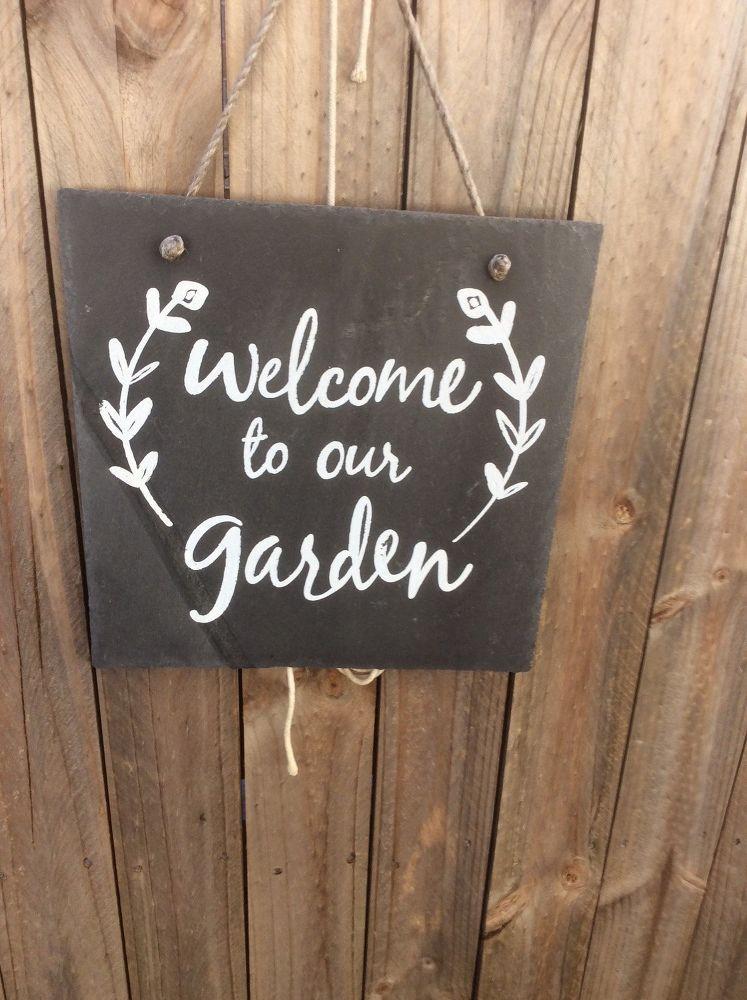Slate Tile Diy Garden Sign Garden Signs Diy Garden Signs Garden Tiles