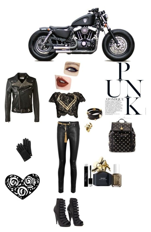 """Sons of Anarchy"" by emi-the-queen ❤ liked on Polyvore featuring Harley-Davidson, Acne Studios, Lover, Yves Saint Laurent, Gucci, Alexander McQueen, TomTom Jewelry, TOMS, Marc Jacobs and Essie"