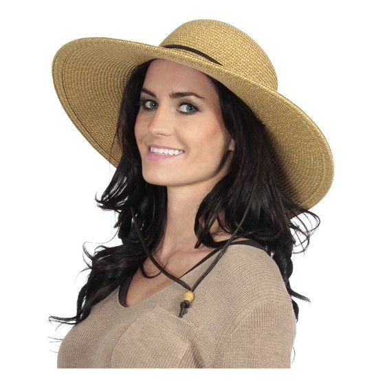 445c0c1b Simplicity - Women's UPF 50+ Wide Brim Braided Straw Sun Hat with Lanyard  Natural-Brown - Walmart.com