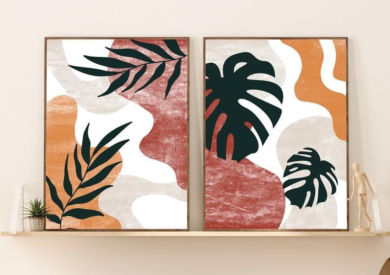 Abstract botanical art set of 2 prints boho gallery wall