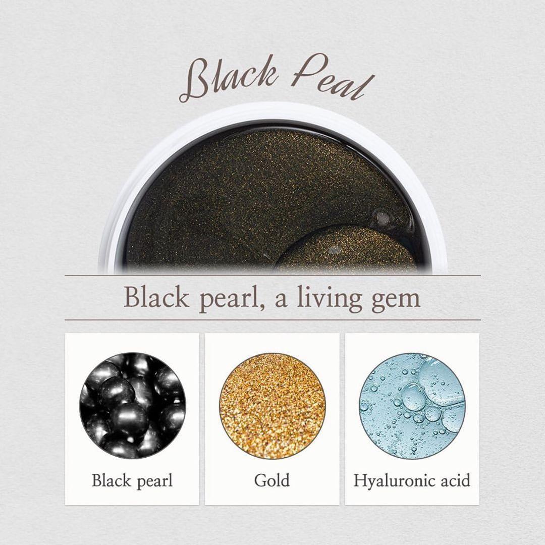 Shangpree Gold Black Pearl Eye Mask ماسك الذهب واللؤلؤ الأسود Black Pearl Pearls Gold
